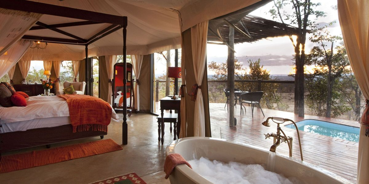 Suite with a view and pool at The Elephant Camp, Victoria Falls, Zimbabwe