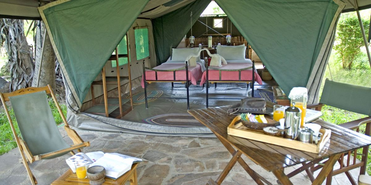 The whole tent set-up at Lake Manze Tented Camp, Selous National Park, Tanzania